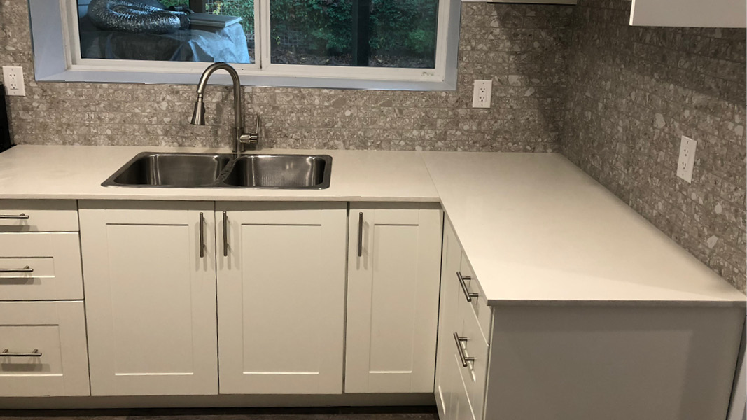 Kitchen renovation project in North Vancouver in taupe theme