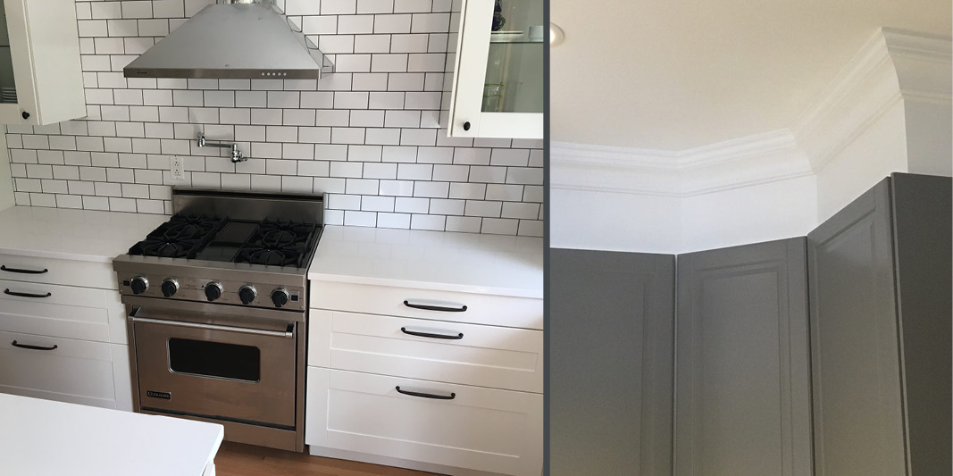 KItchen renovation example with custom crown molding