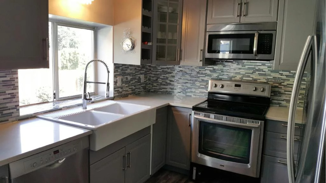 Kitchen renovation project in Burnaby in grey theme