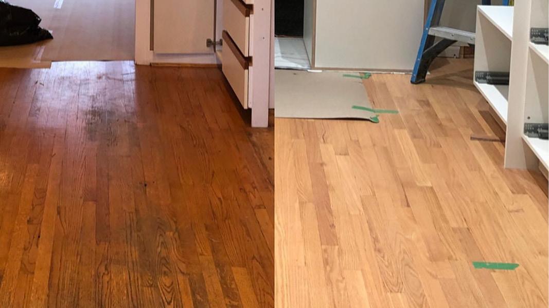 Hardwood floor refinishing project in Coquitlam