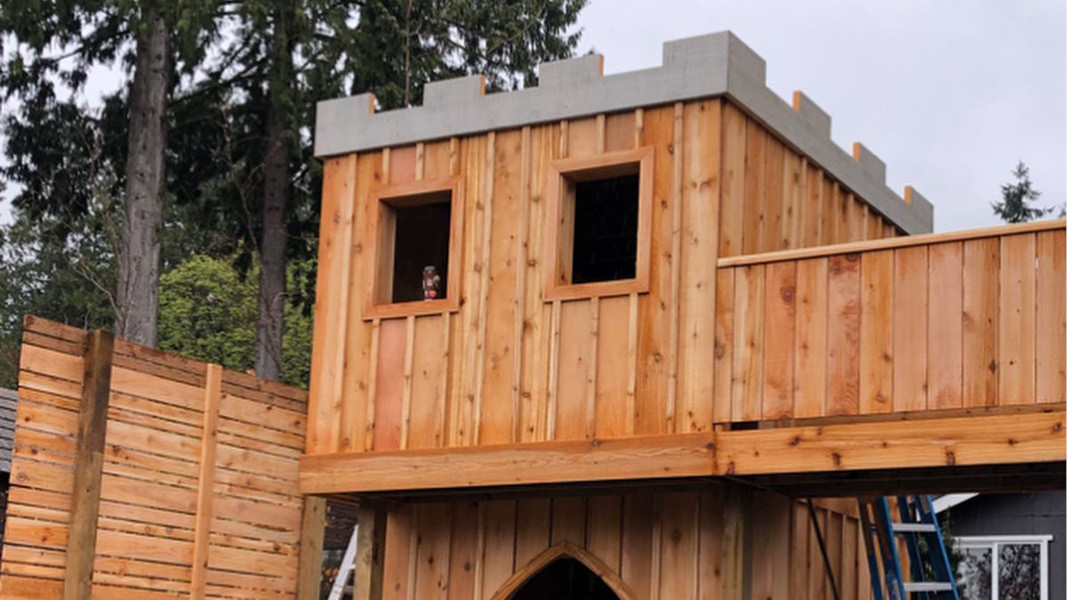 Outdoor Castle playset for North Vancouver Residence